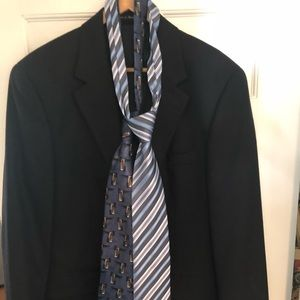 Macy's Savile Gold Button Blazer & 2 Ties Blue 38R